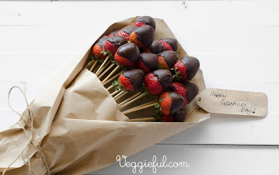 vegan chocolate valentines strawberry bouquet